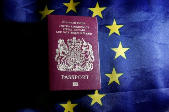 british passport on eu flag